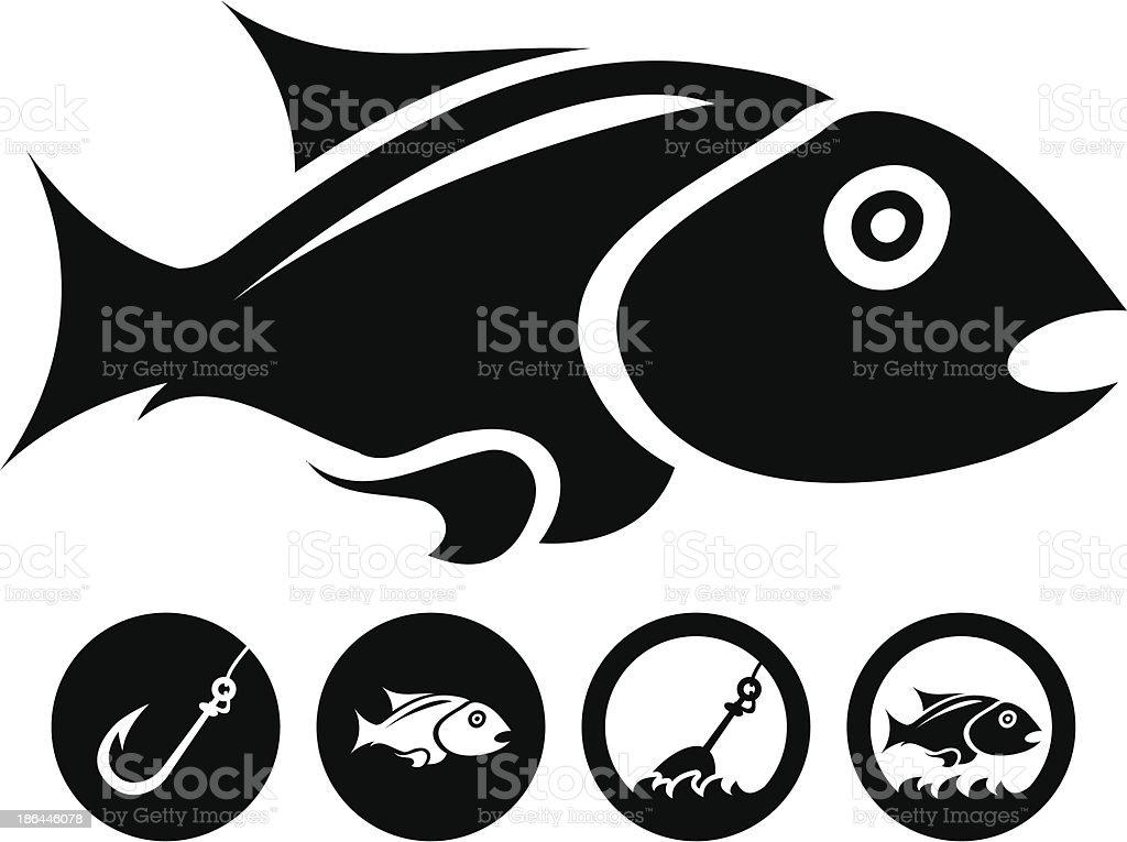 black isolated fish royalty-free stock vector art