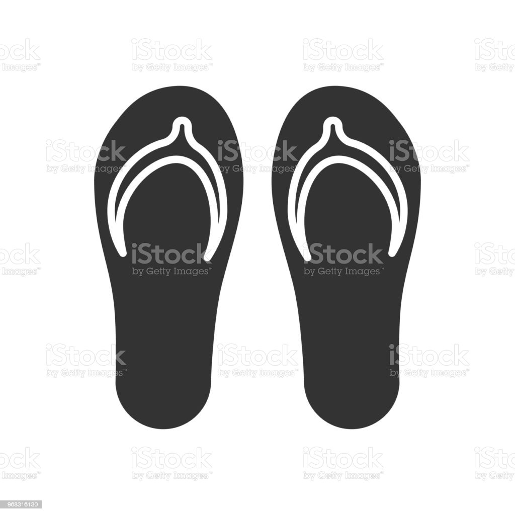 8e3ae8f5a Black isolated icon of flip-flop on white background. Icon of flip flop. -  Illustration .