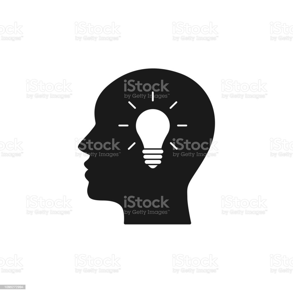 Black Isolated Icon Of Head Of Man And Light Bulb On White