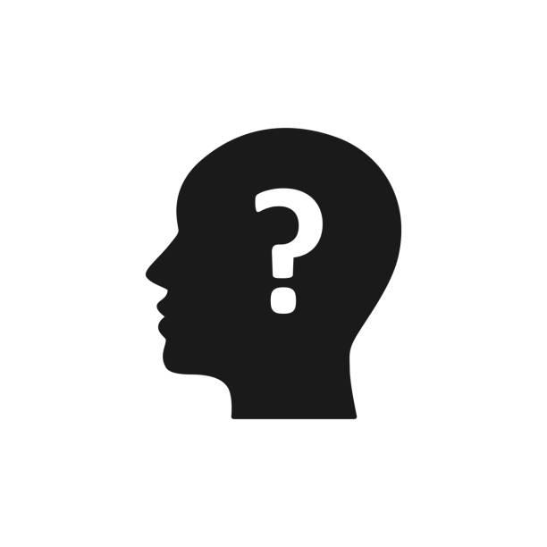 ilustrações, clipart, desenhos animados e ícones de ícone isolado preto da cabeça do homem e do ponto de interrogação no fundo branco. silhueta da cabeça do homem e do ponto de interrogação. símbolo da idéia, dúvida. projeto liso. - cabeça