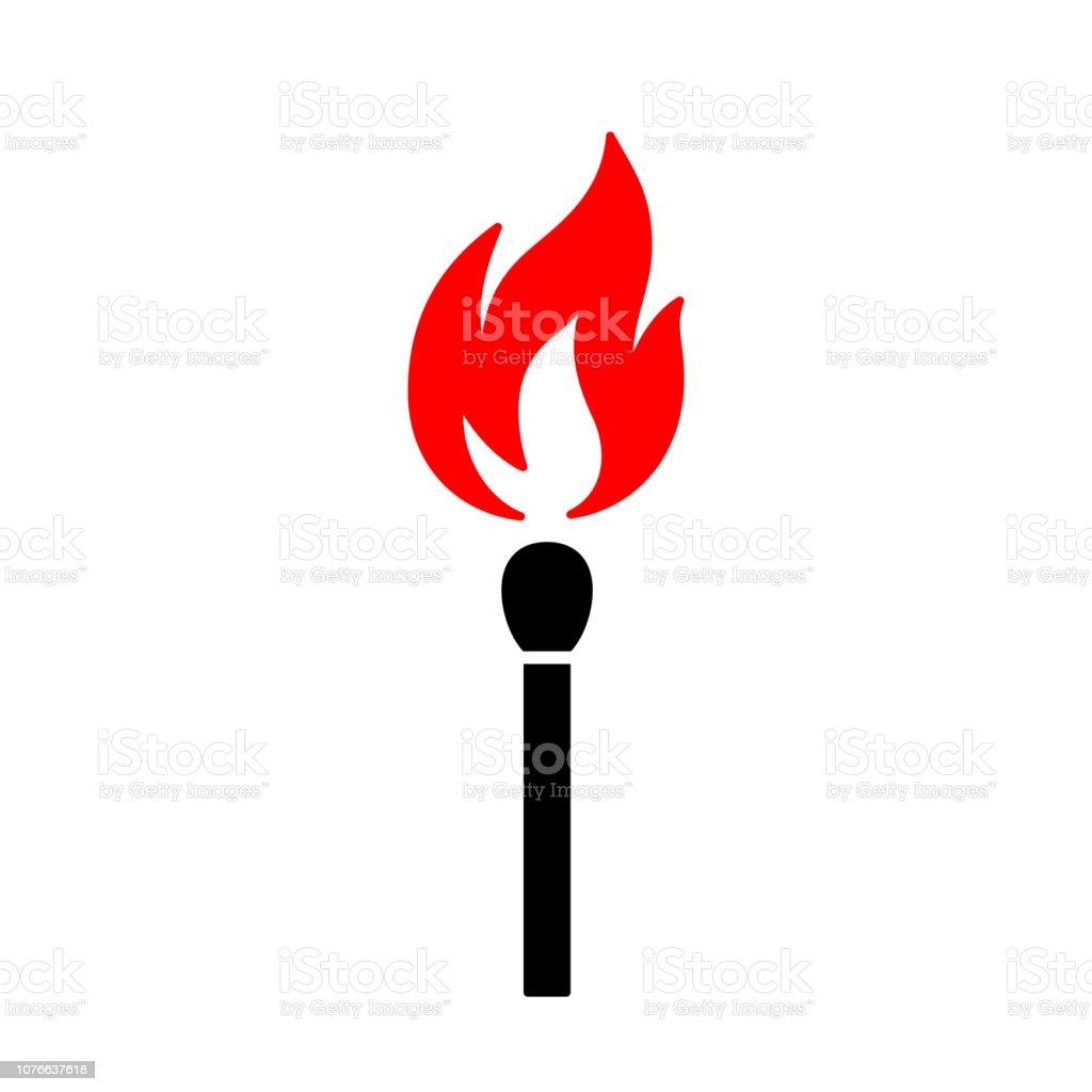 Vetores De Icone Preto Isolado De Palito De Fosforo Com Fogo