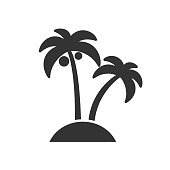 Black isolated icon of palms on white background. Silhouette of palm.