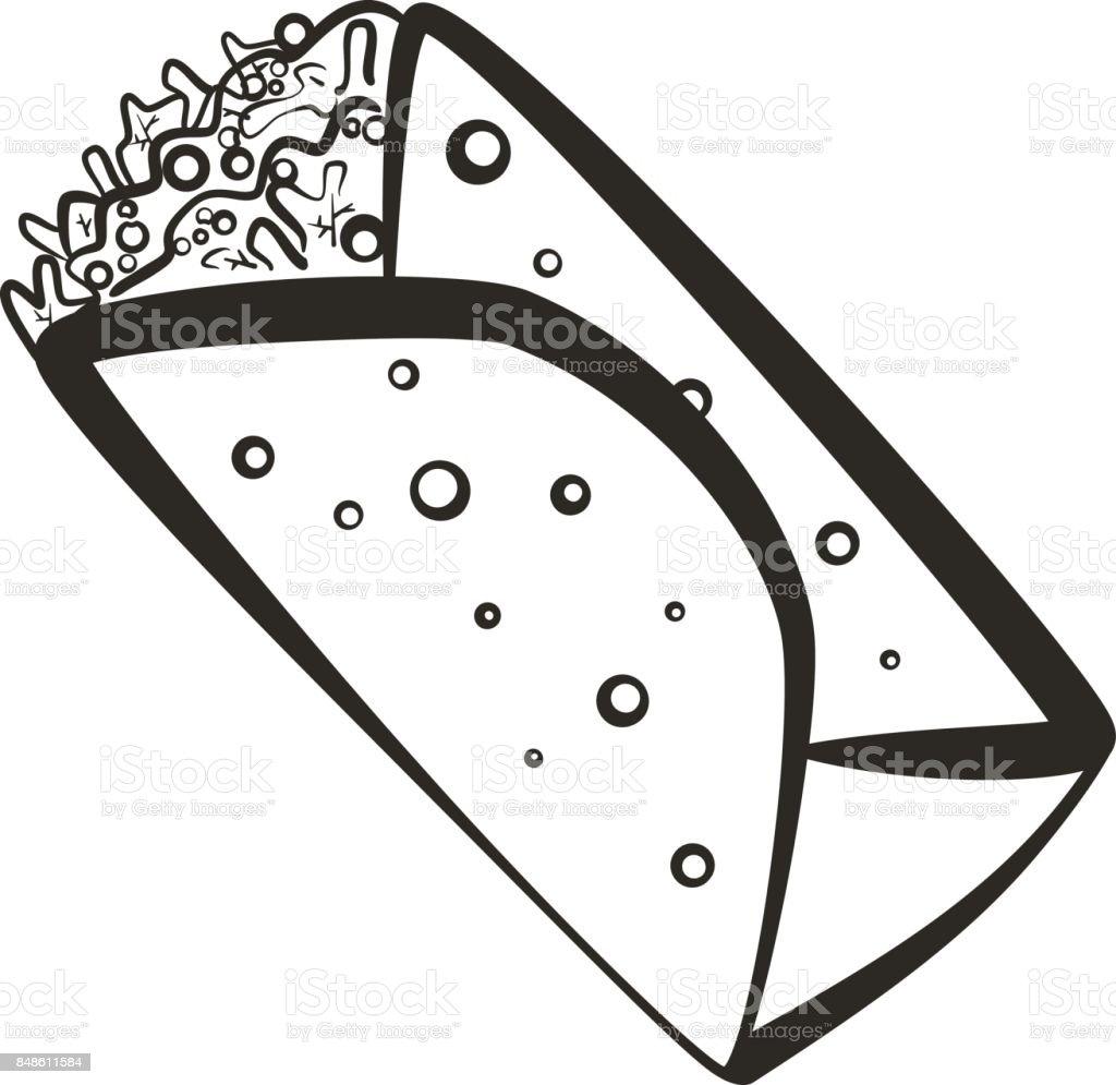 Black isolated outline burrito icon vector art illustration