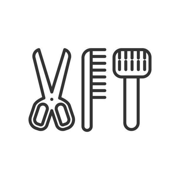 schwarz isoliert übersicht-symbol von zubehör für tiere pflege auf weißem hintergrund. liniensymbol der pflege zubehör. - hundehaarbögen stock-grafiken, -clipart, -cartoons und -symbole