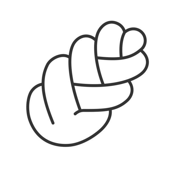 schwarz isoliert übersicht-symbol zopf brot auf weißem hintergrund. liniensymbol der challah. - brotzopf stock-grafiken, -clipart, -cartoons und -symbole