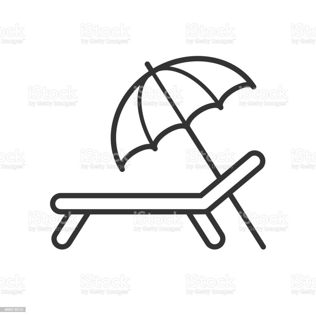 Icône Sur Chaise Contour Isolé La Noir De Parasol Avec Longue dxrCeoB