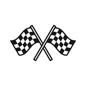 istock Black isolated outline icon of checkered flags on white background. Line Icon of two waving sport flags. 1071025860