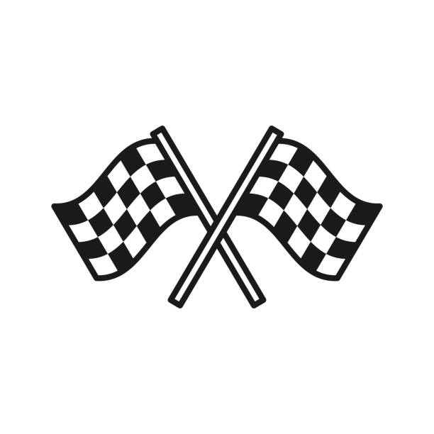 Black isolated outline icon of checkered flags on white background. Line Icon of two waving sport flags. Black isolated outline icon of checkered flags on white background. Line Icon of two waving sport flags auto racing stock illustrations