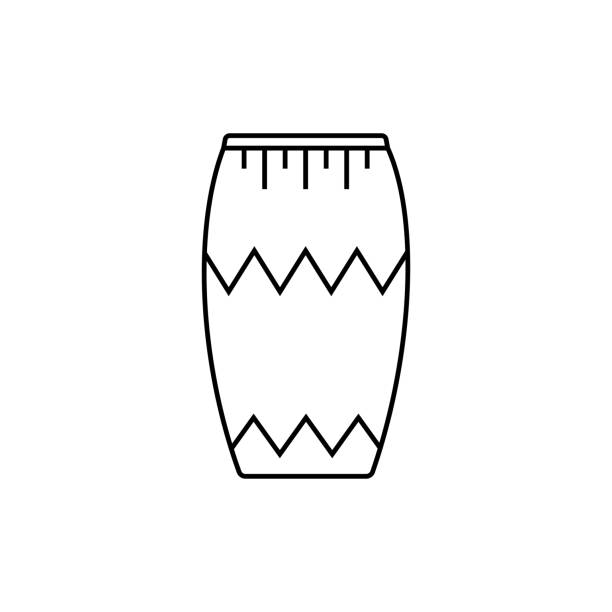 black isolated outline icon of djembe drum on white background line icon of percussion