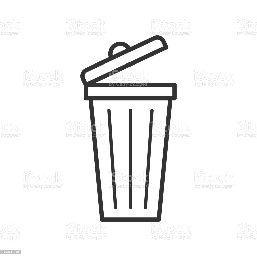 Black isolated outline icon of dust bin on white background. Line Icon of bin for trash. royalty-free black isolated outline icon of dust bin on white background line icon of bin for trash stock illustration - download image now