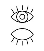 Black isolated outline icon of eye with eyelash on white background. Set of line Icon of open and closed eyes. Vision