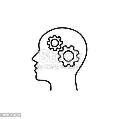Black isolated outline icon of head of man and cogwheel on white background. Line icon of head and gear wheel