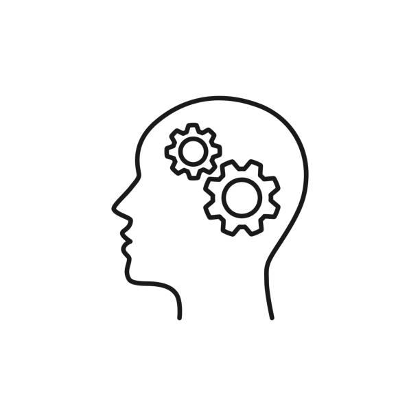 stockillustraties, clipart, cartoons en iconen met zwarte geïsoleerde omtrek icoon van hoofd van de man en tandrad op witte achtergrond. lijn icoon van hoofd en gear wheel. - menselijk hoofd