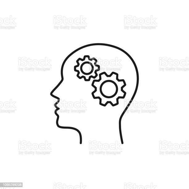 Black Isolated Outline Icon Of Head Of Man And Cogwheel On White Background Line Icon Of Head And Gear Wheel — стоковая векторная графика и другие изображения на тему Абстрактный