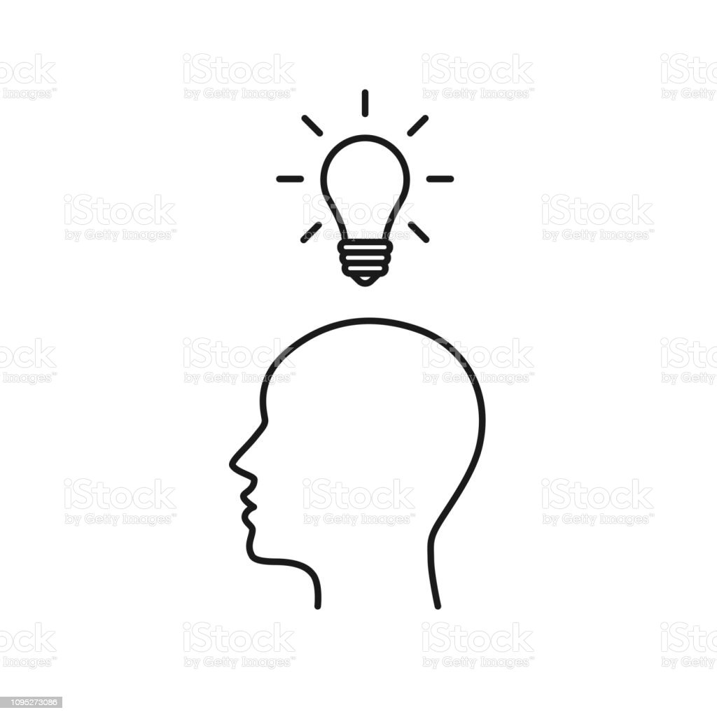 Black Isolated Outline Icon Of Head Of Man And Light Bulb On