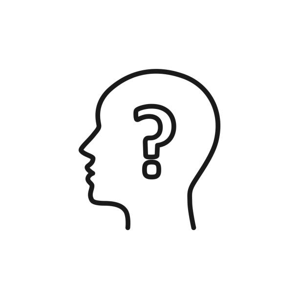 Black isolated outline icon of head of man and question mark on white background. Line icon of head of man and question mark. Symbol of idea, doubt. Flat design. Black isolated outline icon of head of man and question mark on white background. Line icon of head of man and question mark. Symbol of idea, doubt. Flat design human head stock illustrations