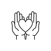 Black isolated outline icon of heart in hands on white background. Line icon of heart and two hands. Symbol of care, love, charity