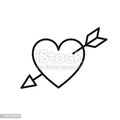 Black isolated outline icon of heart pierced by arrow on white background. Line Icon of heart with arrow. Symbol of love and passion