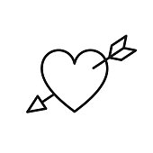 Black isolated outline icon of heart pierced by arrow on white background. Line Icon of heart with arrow. Symbol of love and passion.