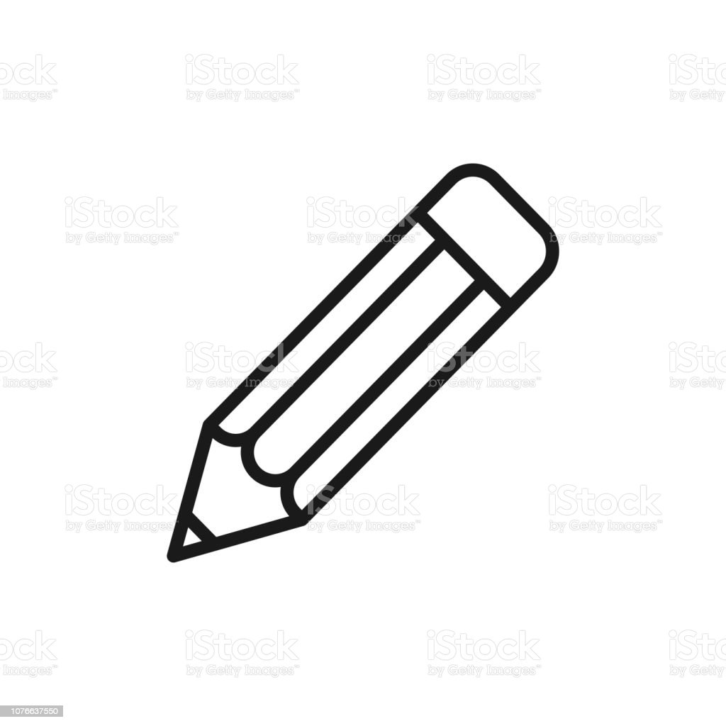 Black isolated outline icon of pencil on white background