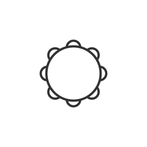 stockillustraties, clipart, cartoons en iconen met zwarte geïsoleerde omtrek icoon van tamboerijn op witte achtergrond. lijn icoon van percussie muziekinstrument. - tamboerijn