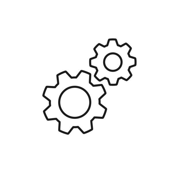 illustrazioni stock, clip art, cartoni animati e icone di tendenza di icona del contorno isolato nero di due ruote dentate su sfondo bianco. icona della linea della ruota ingranaggi. impostazioni. - attrezzatura