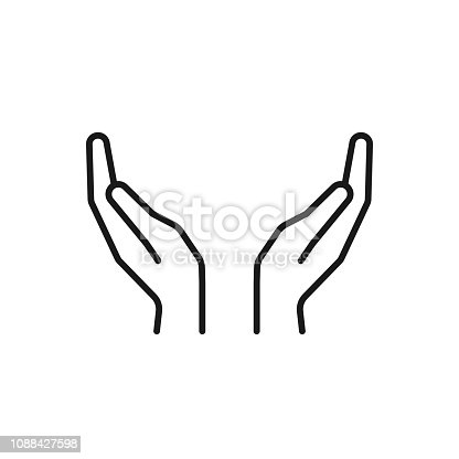 Black isolated outline icon of two hands on white background. Line Icon of two hands