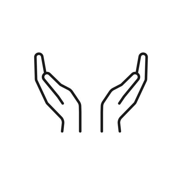stockillustraties, clipart, cartoons en iconen met zwart geïsoleerd overzicht pictogram van twee handen op een witte achtergrond. de icoon van de regel van twee handen. - hand