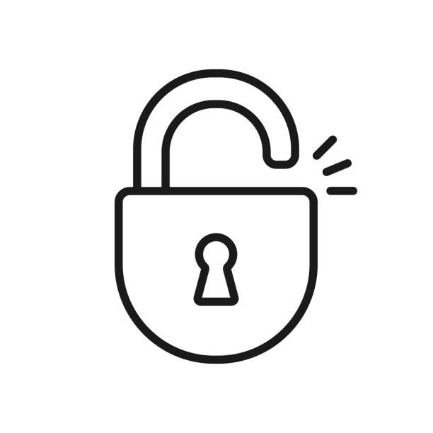 Black isolated outline icon of unlocked lock on white background. Line Icon of padlock. Black isolated outline icon of unlocked lock on white background. Line Icon of padlock unlocking stock illustrations