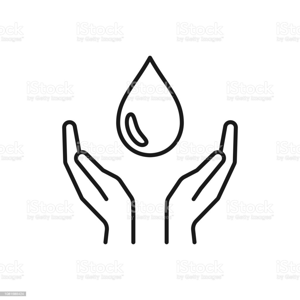 Black isolated outline icon of water drop in hands on white