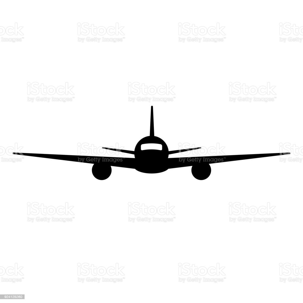 Black isolated silhouette of airplane on white background. Front view of aeroplane. vector art illustration