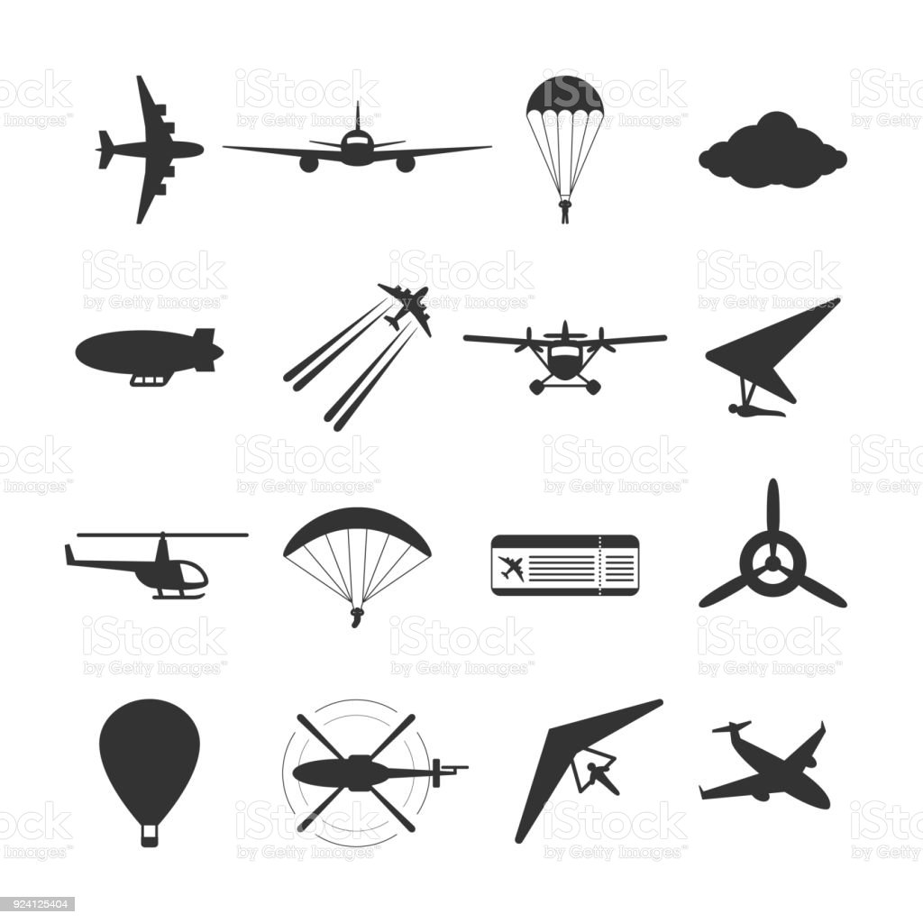 Black isolated silhouette of hydroplane, airplane, parachute, helicopter, propeller, hang-glider, dirigible, paraglide, balloon. Set of aviation icon. vector art illustration