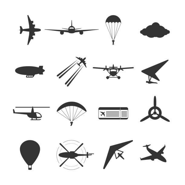 ilustrações de stock, clip art, desenhos animados e ícones de black isolated silhouette of hydroplane, airplane, parachute, helicopter, propeller, hang-glider, dirigible, paraglide, balloon. set of aviation icon. - parapente