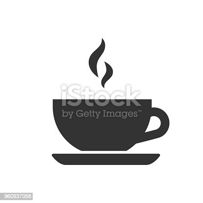 black isolated silhouette of tea cup on white background icon of