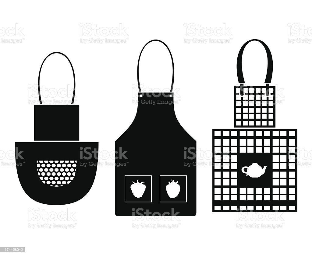 black isolated silhouettes of aprons royalty-free stock vector art