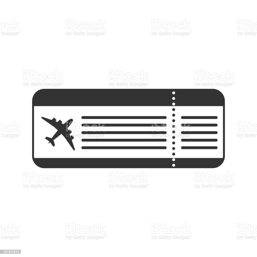 Black Isolated Ticket For The Flight On White Background Icon Of Airplane