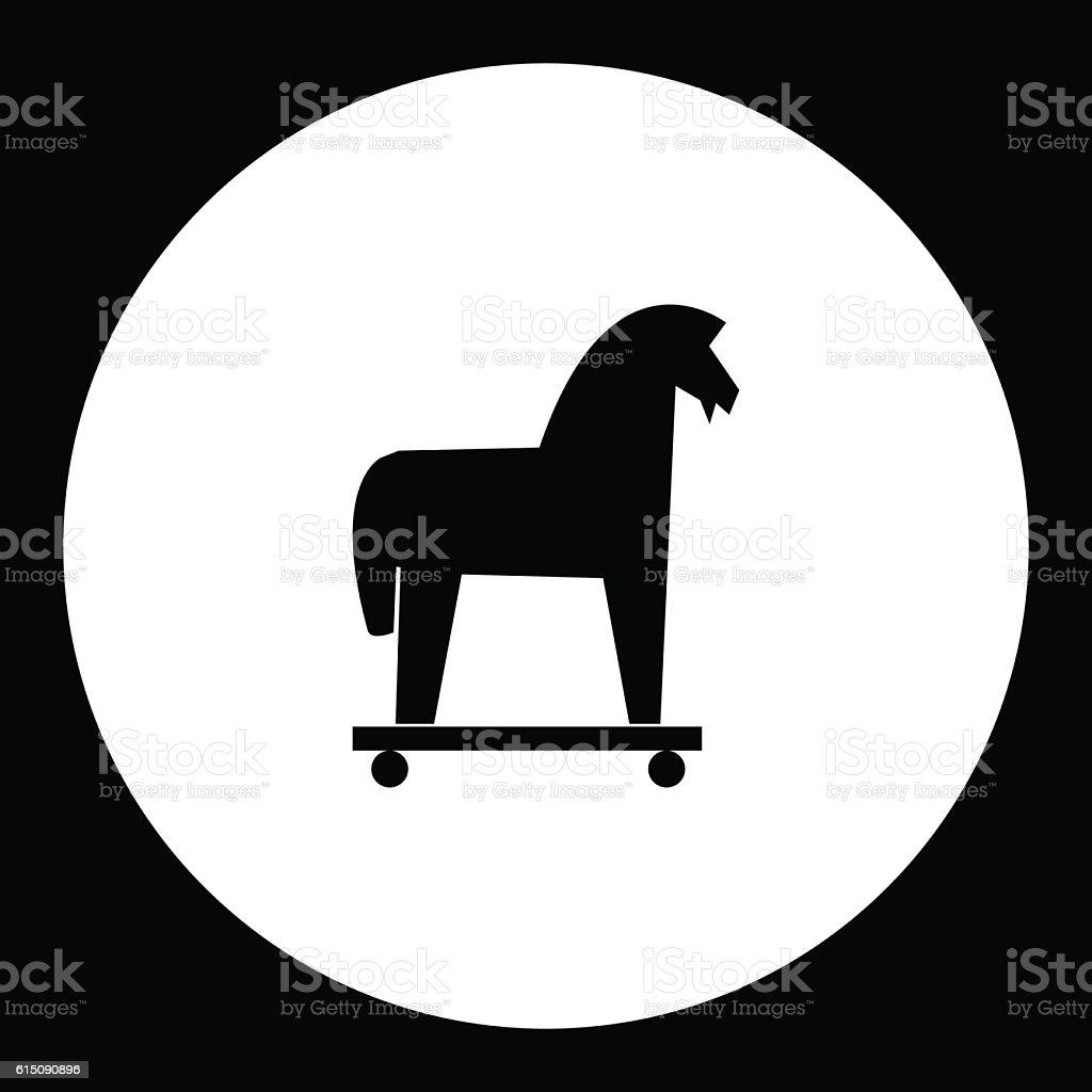 black isolated trojan horse symbol simple icon eps10 stock vector