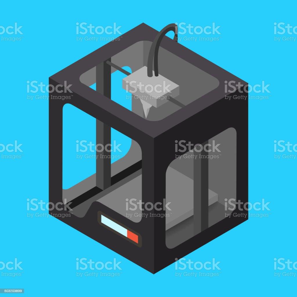 Black Isometric 3D-Drucker auf einem blauen Hintergrund.  Vektor-Illustration. – Vektorgrafik