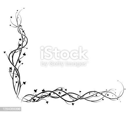 black ivy corner frame on white background vine. vector illustration stock