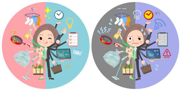 ilustrações de stock, clip art, desenhos animados e ícones de black jacket pants business woman_mulch task switch - fail cooking