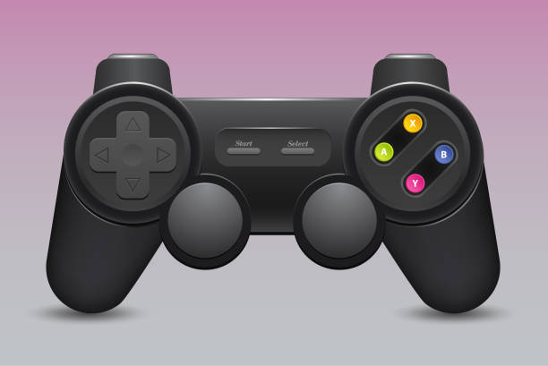 Black joystick , isolate on white background Gamepad icon. Black joystick , isolate on white background game controller stock illustrations