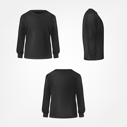 Black jumper three sides view realistic vector