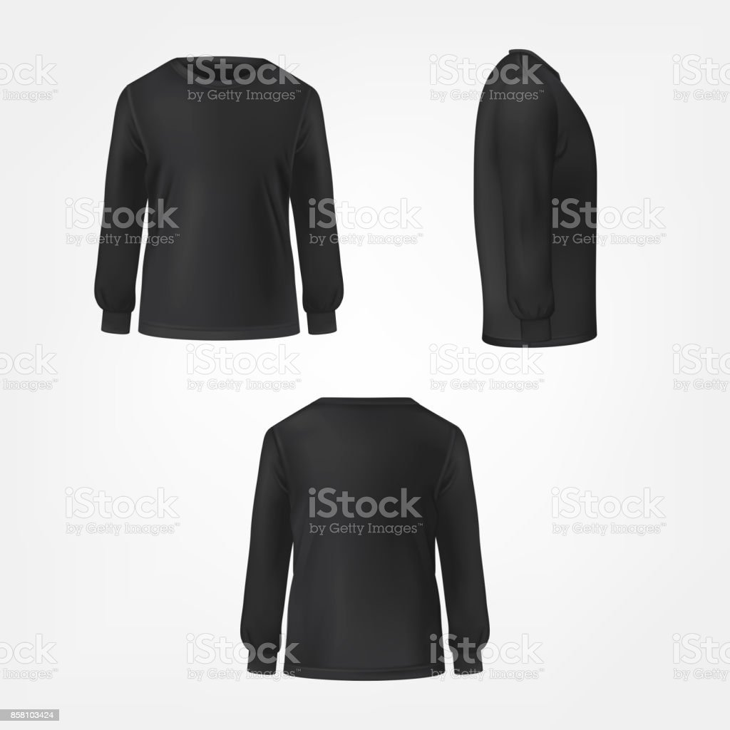Black jumper three sides view realistic vector vector art illustration