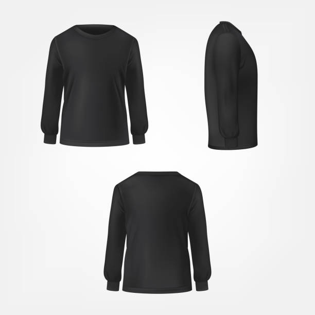 Black jumper three sides view realistic vector Black jumper with crew neck and long sleeve in three sides view realistic vector set isolated on white background. Modern unisex casual cloth template for fashion concept, clothing store advertising shirt stock illustrations