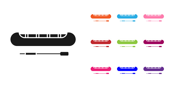 Black Kayak and paddle icon isolated on white background. Kayak and canoe for fishing and tourism. Outdoor activities. Set icons colorful. Vector Illustration