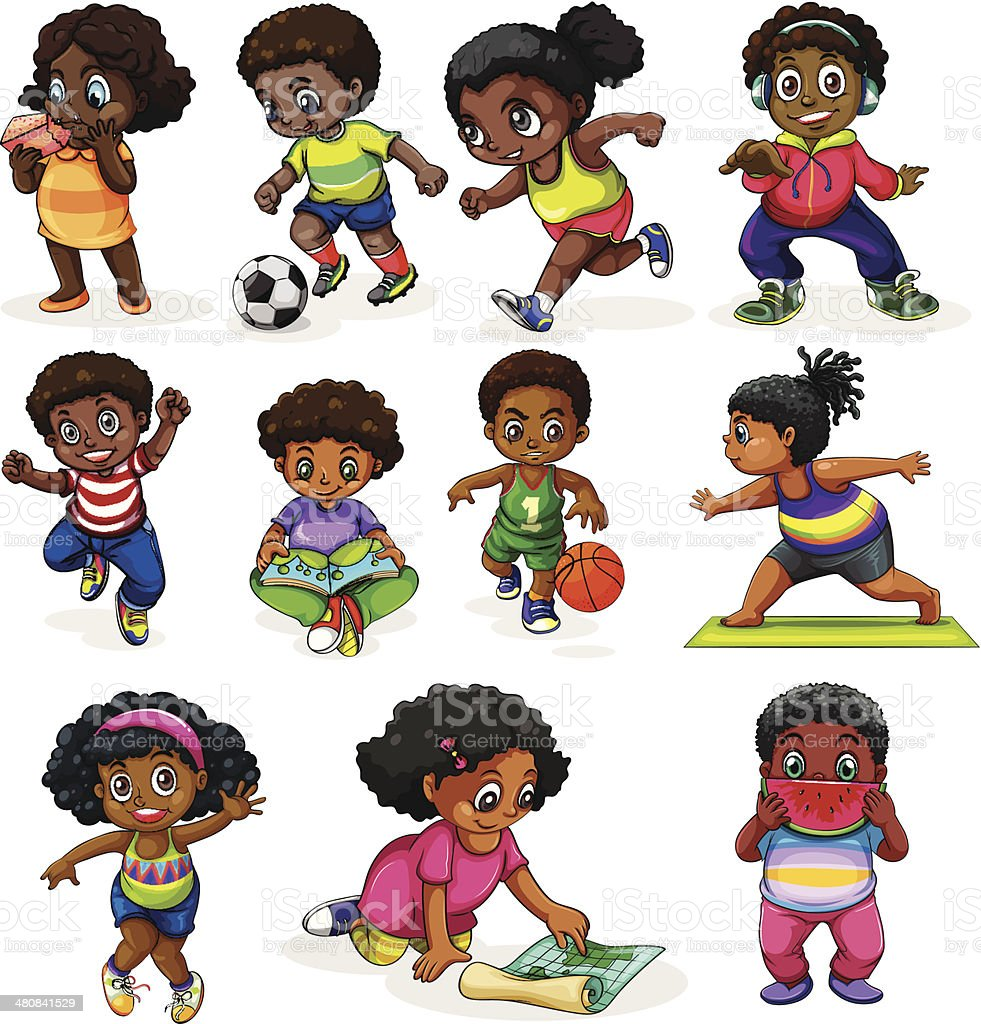 Black kids engaging in different activities royalty-free stock vector art