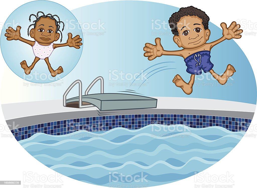 Black Kids Jumping into Swimming Pool vector art illustration
