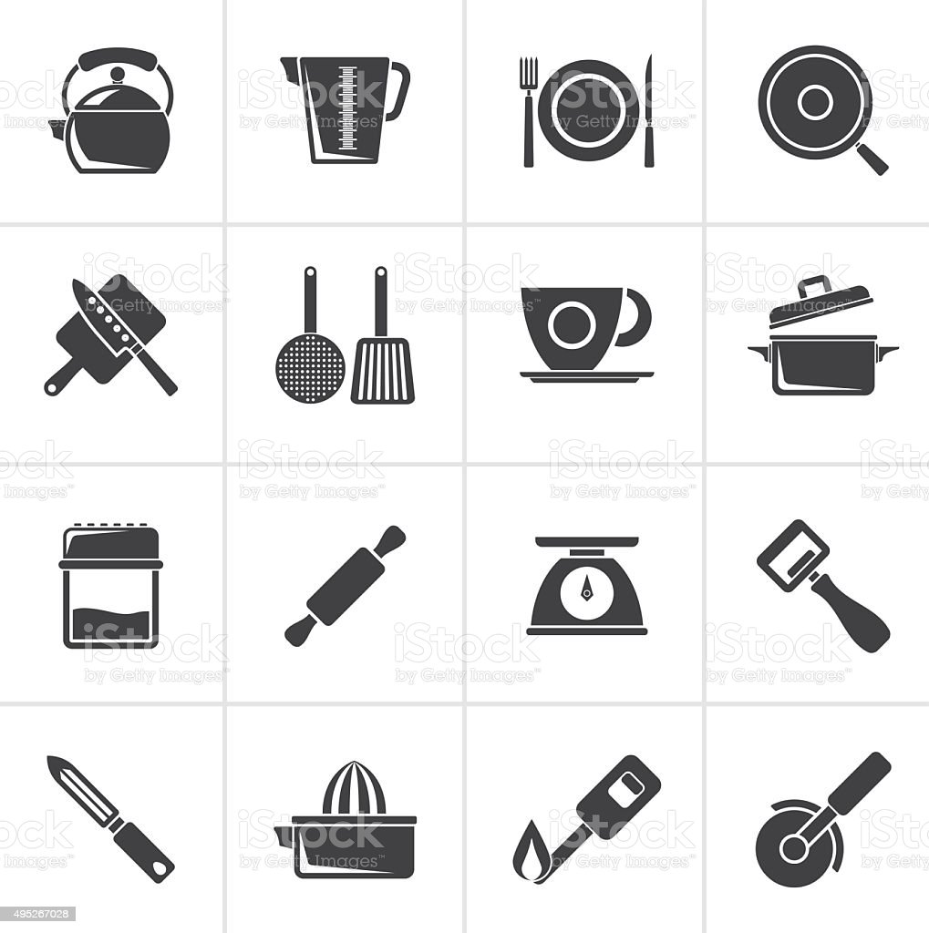 Black kitchen gadgets and equipment icons vector art illustration