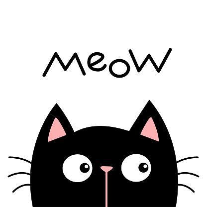 Black kitten cat head face looking. Meow. Kawaii baby pet animal. Cute cartoon character. Scandinavian style. Pink nose. Notebook cover, tshirt, greeting card print. Flat design. White background.