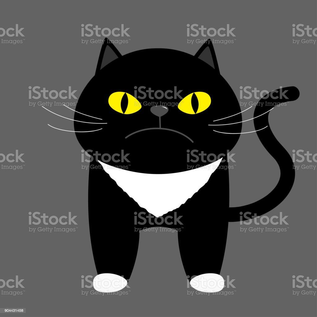 Chat Chaton Noir Avec Des Yeux Jaunes Personnage Drôle De